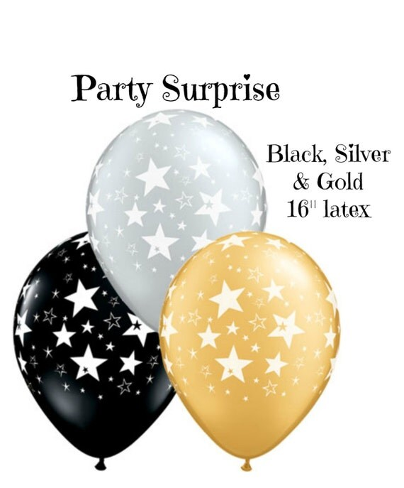 Varigated latex balloons black gold