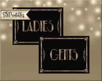 Printable weddings bathroom signs - Ladies & Gents - Art Deco Black and Gold Design - 2 sizes instantly downloadable