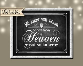 We know You Would be Here Today if Heaven wasn't so Far Away Wedding sign - instant download Printable digital file - Rustic Collection