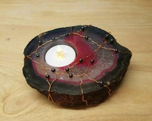 Red Purple agate tea light holder. Copper wire wrapped hematite & agate candle holder. Reiki Crystal. Gemini stone
