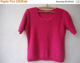 SALE Pink Fucsia Knit Sweater  Knitted Slouchy Pullover Romantic  Cardigan Short Sleeve Blouse Top Small Size