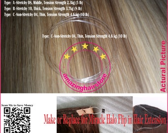 Halo hair extensions etsy new 12pcs 18 invisible stretchy secret halo miracle wire replace for 100 remy human pmusecretfo Image collections