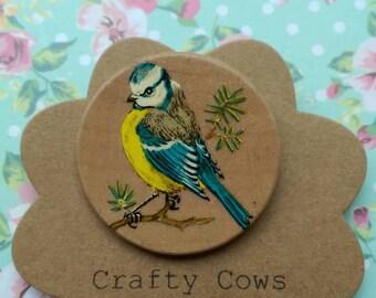 Handmade Vintage Bluetit brooch Handmade vintage wooden bluetit badge bird badge bluetit jewellery blue tit badge