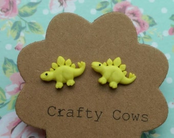 Diddy yellow dinosaur earrings - tiny dino earrings yellow dinosaur stud earrings uk jurrasic
