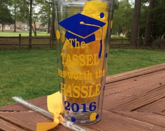 Graduation Gift tumbler, Cap and diploma cup FREE personalization