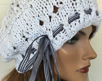 Hand Knit Slouch Beret Hat Cotton Lace Soring Summer Female Hip Designer Fashion Gift Birthday