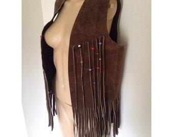 1970s / / / Beaded Fringe Leather Suede Tassel Coachella Vest Jacket