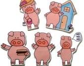 This Little Piggy, Fingerplay, Nursery Rhyme, Busy Book, Felt Board, Flannel Board, Quiet Book, Felt set, Homeschool, Felt Story