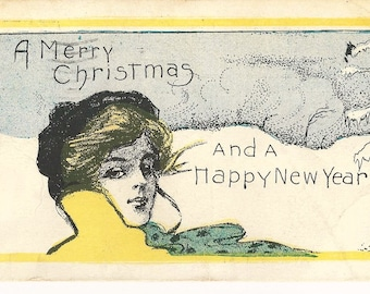 """Beautiful Vintage 1907  """"A Merry Christmas and A Happy New Year """" Glamour Girl Postcard"""
