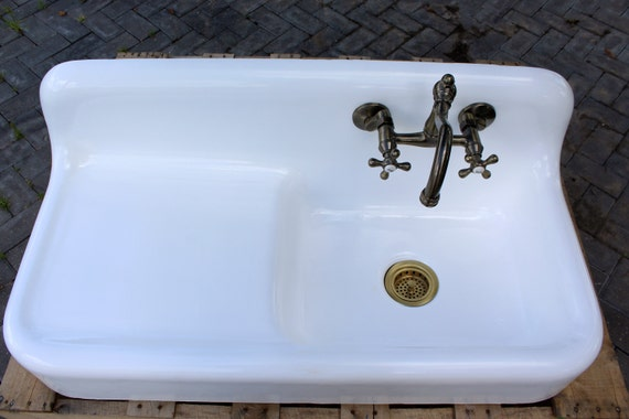 "43"" Vintage Refinished Farm Sink 1935 Cast Iron Drainboard"
