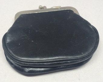 Vintage Calf Leather Coin Purse Wallet Black Pocket Snap Closure