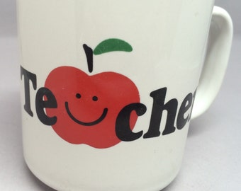 CLEARANCE Vintage Teacher You're The Best Coffee Mug Tea Cup Gift Apples