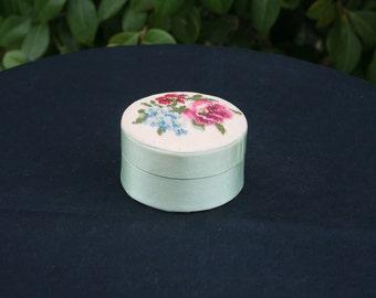 Vintage Round Petit Point Trinket Box