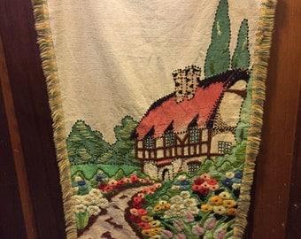 1970's Cottage Garden Needlepoint on Cloth