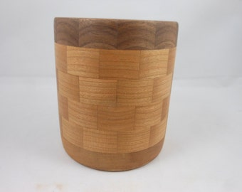 Segment Cherry & Walnut Pencil Holder