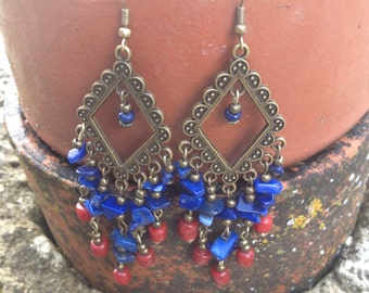 Boho Brass Lapis Lazuli and Red Glass Earrings