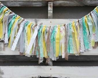 Boho Rag Tie Garland, Boho Wedding Garland, Boho Fabric Banner, Backdrop Garland, Boho Baby Shower Rag Tie Garland, Boho Baby Shower Decor