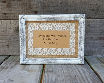 Advice and Well Wishes Distressed Wooden Frame Table Sign, Wedding Reception Sign, Rustic Wedding Decor, Advice for Bride and Groom