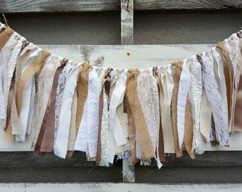 Oatmeal Fabric and Lace Rag Garland, Rustic Wedding Garland, Gender Neutral Fabric Banner, Backdrop Garland, Rag Tie Garland