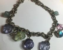 Gorgeous multi colored Gem stone dangle necklace