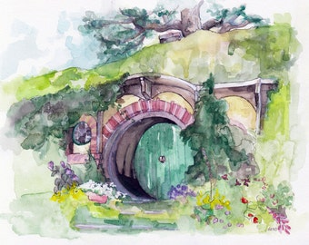 "Bag End Painting, Watercolor Painting, The Hobbit, The Lord of the Rings, The Shire, Hobbiton, Tolkien, Fantasy Art, Print titled,""Bag End"""