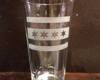 Chicago flag 16 oz. glass
