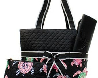 Quilted Sea Turtle 3pc Diaper Bag Set With free monogram