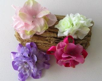 Girls hair flower, hair flowers on croc clips set , cream roses croc clip, purple flowers on croc clip, pink hydrangeas, girls hairclip set