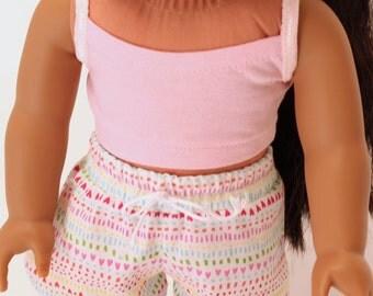 American Girl doll clothes - Summer Fun: Mini print picnic shorts and pink bandeau tank top