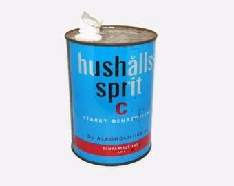50's Finnish spirit tin canister, Oy Alkoholiliike Ab