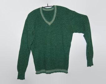 90's green wool sweater, Handmade in Finland