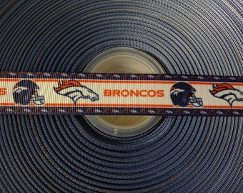 "DENVER BRONCOS NFL [2] 7/8"" 22mm Grosgrain Hair Bow Craft Ribbon 2986"