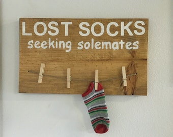 Lost socks seeking solemate, wood laundry room sign, laundry room decor, wall decor, laundry decor, laundry signs
