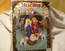 Christmas Felt Kit Christmas Nativity Set of 9 by Bucilla Free Shipping