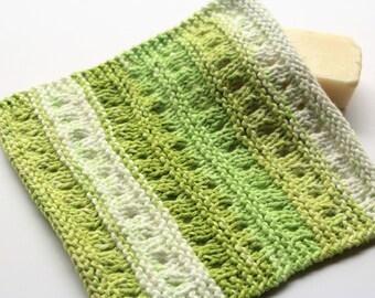 Lime Stripe Dishcloth, Hand Knit Dishcloth, Knit Lime Washcloth, Housewarming Gift, Kitchen Dishrag, Cleaning Cloth