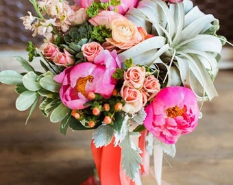 Succulent and Peony Summer Bouquet