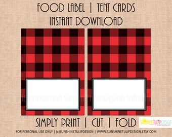 Printable Buffalo Check Tent Cards, Buffalo Plaid Red and Black Table Tent Card Labels by Sunshinetulipdesign