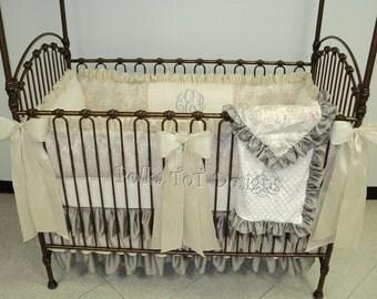 Elegant Baby Bedding Linen & Faux Silk Crib Set  : Evalyn