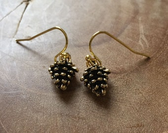 Pinecone - goldtone dangling earrings with metal goldtone and black pinecone - very cute and perfect for fall.