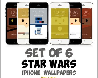 Star Wars iPhone Wallpapers (Set 1 of 3): R2-D2, C-3PO, Luke Skywalker, Princess Leia, Ewok | Star Wars Art for iPhone 5, 5c, 5s, 6, 6 Plus