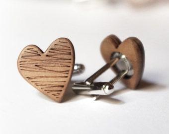 Heart shaped cufflinks groom groomsmen gift wood cufflinks doodle design