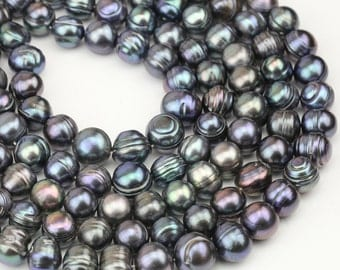 12-13mm black pearl strand,large freshwater near round pearl string,big size pearl,1.5mm,1.8mm,2.0mm,2.2mm,2.5mm,3.0mm large hole pearls