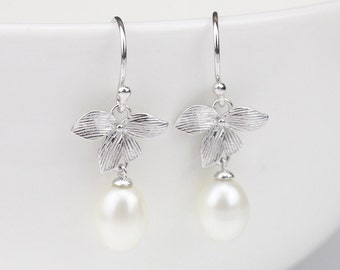 Bridesmaid earrings,freshwater pearl dangle earrings,drop pearl earrings,flower earrings,silver dangle hook earring,birthday gift,june stone