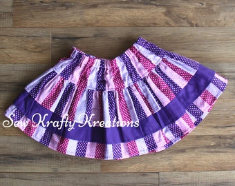 Children's - Pink and Purple Stripe Shirt with Solid Purple 3 Tier Skirt