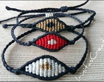 Macrame small evil eye bracelets/fashion bracelets/new colours