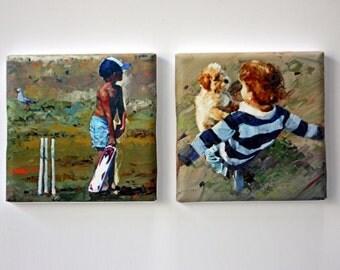 Tiny Canvas | Duo | Boy Art | Print Set | Canvas Print | Puppy | Children Playing | Small Art Print | Present | Collectible Art | Cricket