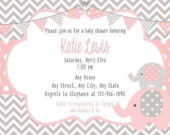 Elephant Baby Shower Invitation and Thank You
