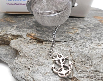 Tea Ball with Anchor and Rope Charm - loose tea, tea strainer, tea ball, tea infuser, tea brewing, Anchor