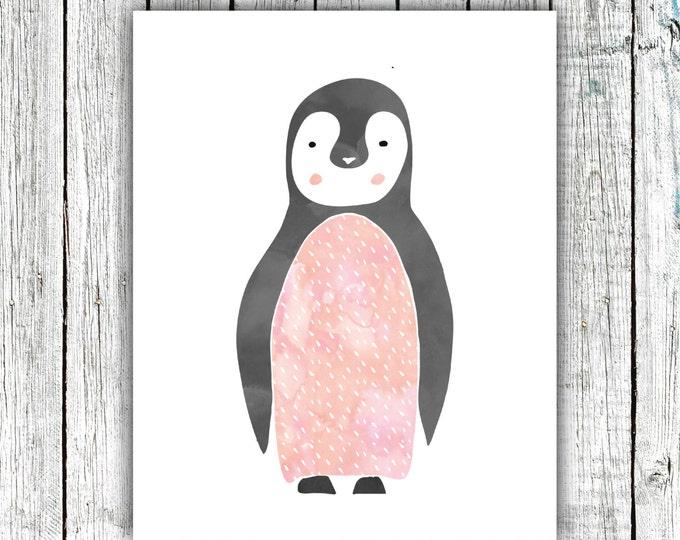 Nursery Art Printable, Penguin, Baby Girl, Pink , Modern, Digital File, Size 8x10  #507