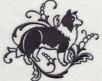 PAIR hand towels - Graceful Border Collie - EMBROIDERED 15 x 25 inch for kitchen or bath